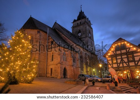 WOLFHAGEN, GER - DEC 16,viw of the maket place and church at christmas time, Wolfhagen, Germany, December 16, 2013 - stock photo
