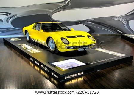 WOLFSBURG, GERMANY - AUGUST 14, 2014: Italian retro sportscar Lamborghini Miura at the museum of the Volkswagen Autostadt. - stock photo