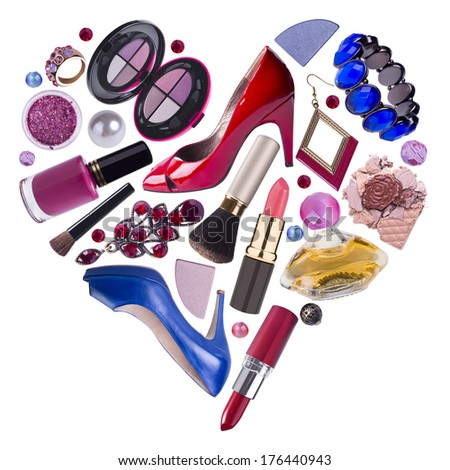 Woman accessories arranged in heart shape, shopping concept - stock photo