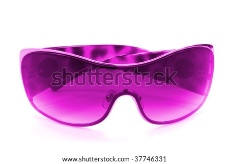 woman accessory. purple sunglasses isolated on white - stock photo