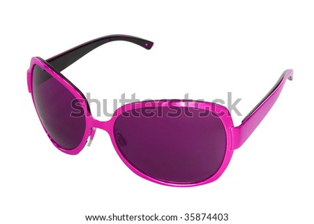 woman accessory. purple sunglasses isolated on white background - stock photo