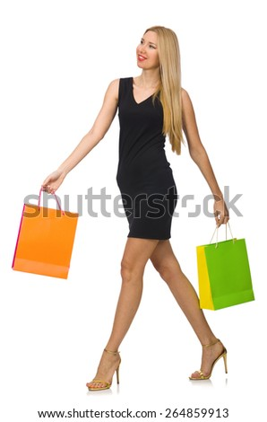 Woman after shopping spree on white - stock photo