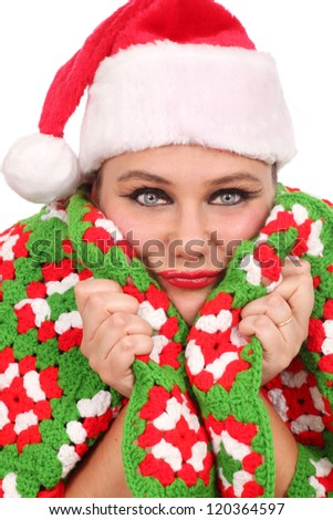 Woman all warm with a handmade blanket - stock photo