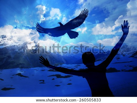 Woman and eagle-  Soar like an eagle....popular new testament passage   - stock photo