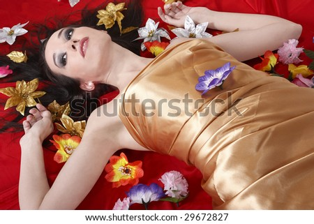 woman and flowers - stock photo