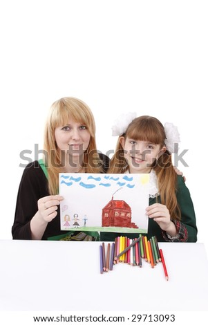 Woman and girl are holding the picture. Mother and her young daughter drawing together. Girl is painting her family in bright colours. Isolated over white background. - stock photo