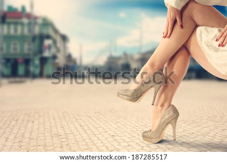 woman and gold shoes  - stock photo