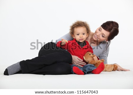 Woman and her child - stock photo
