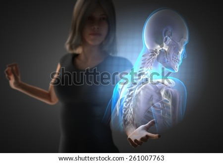 woman and hologram with bones radiography - stock photo