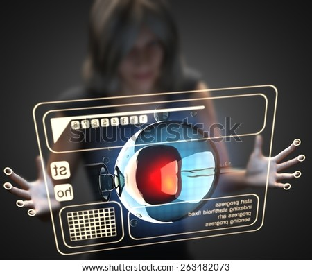 woman and hologram with insemination engineering - stock photo