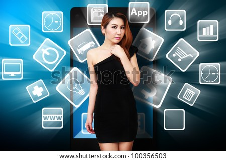 Woman and icons explode from mobile phone - stock photo