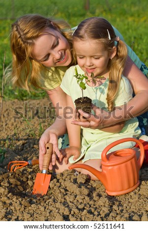 Woman and little girl growing healthy food - planting tomato seedlings - stock photo