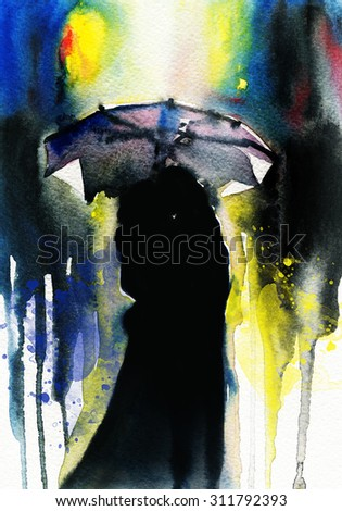 woman and man  .abstract watercolor .fashion background - stock photo