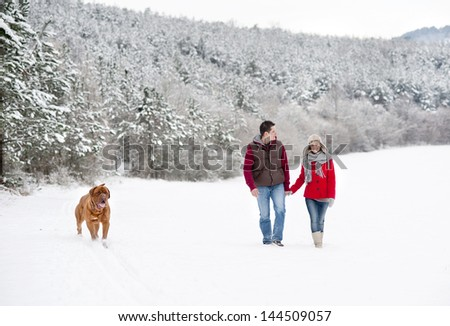 Woman and man are having walk with dog in winter snowy countryside - stock photo