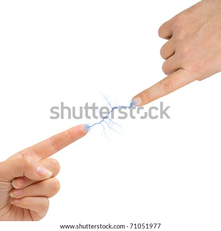 Woman and man hands and lightning isolated on white background - stock photo