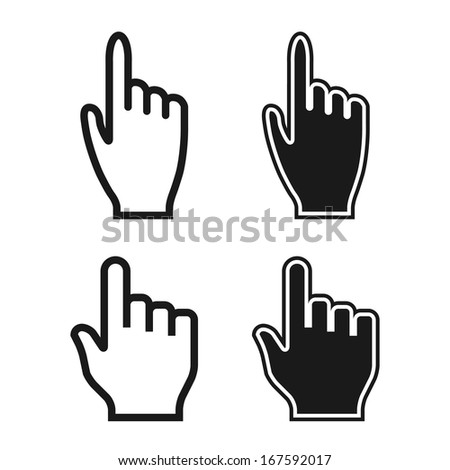 Woman and Man Hands. Cursor Icons. Mouse Pointer Set. Raster Version - stock photo