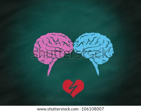woman and man in the broken heart on green chalkboard - stock photo