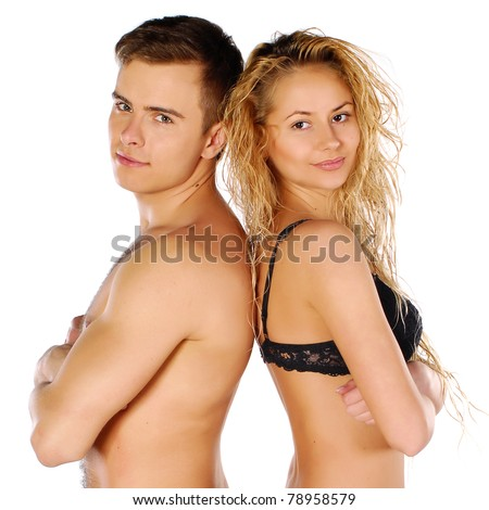 woman and man , over white background - stock photo