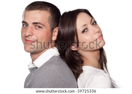 Woman and man posing on a white background - stock photo