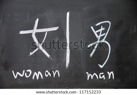 woman and man  symbols with Chinese writing on the blackboard - stock photo