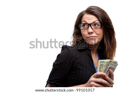 Woman and money. Isolated over white. - stock photo