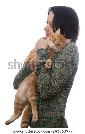 Woman and orange cat, isolated on white background - stock photo