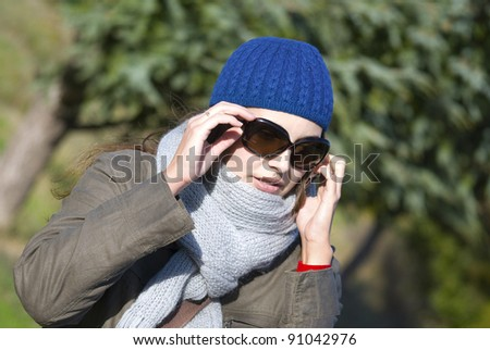 woman and phone - stock photo