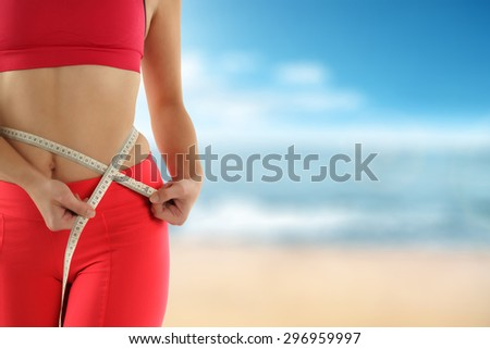 woman and sea background  - stock photo