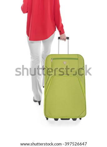 Woman and suitcase on a white background. - stock photo