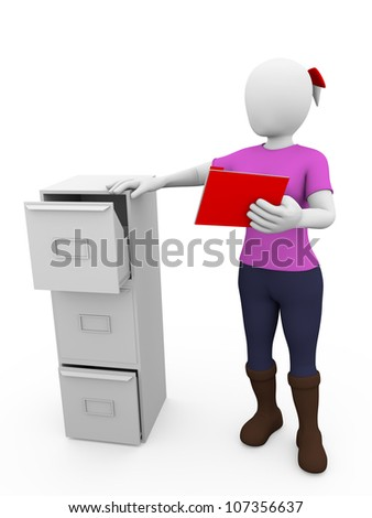 Woman archiving a folder in a metallic drawer - stock photo