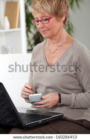 Woman at home with laptop - stock photo