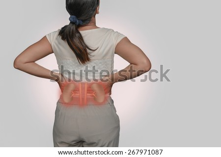 woman back Pain and Kidneys. - stock photo