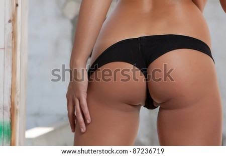 woman back with black lingerie - stock photo