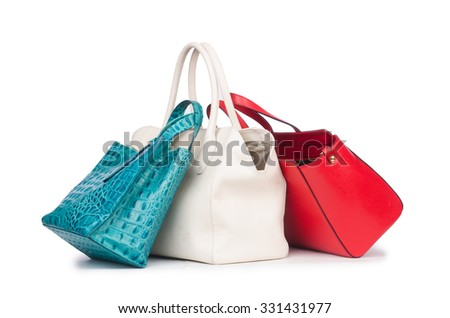 Woman bag isolated on the white - stock photo