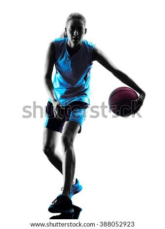 woman basketball player silhouette - stock photo
