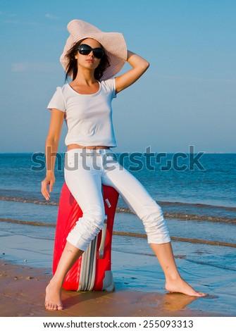 Woman Beach Suitcase  - stock photo