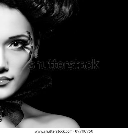 woman beautiful halloween vampire baroque aristocrat over black background - stock photo