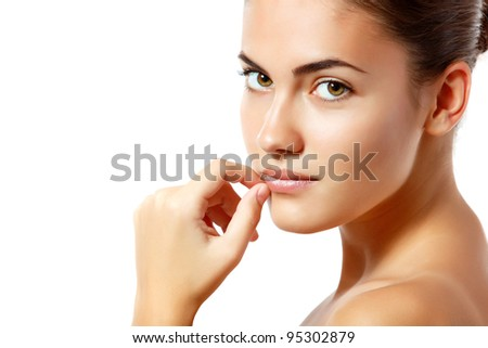 woman beautiful young cheerful enjoying isolated on white - stock photo