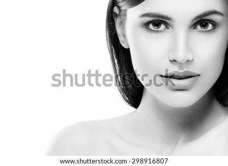 Woman beauty face black and white - stock photo
