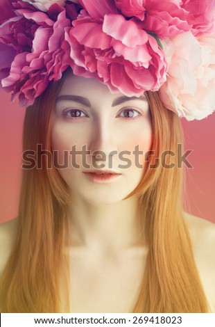 Woman beauty. fashion gentle romantic  portrait of beautiful red haired (ginger) woman with flowers in her head. - stock photo