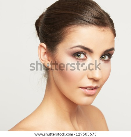Woman beauty portrait. close up female face. Long hair  beauty model . - stock photo