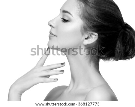 Woman beauty portrait close-up isolated on white  - stock photo