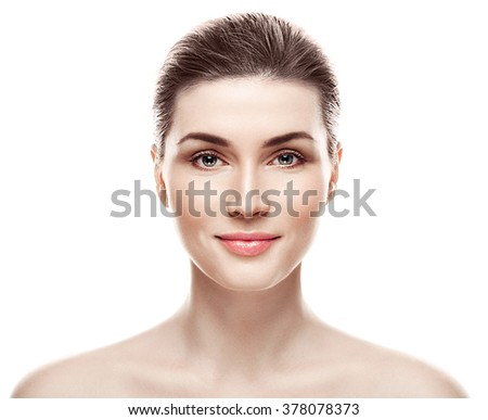 Woman beauty portrait isolated on white skin care concept - stock photo