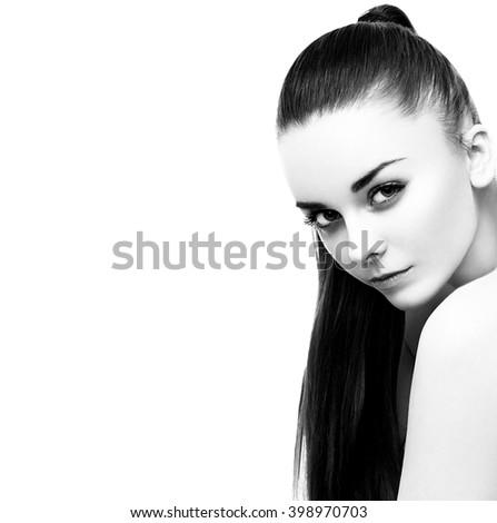 Woman beauty studio portrait black and white - stock photo