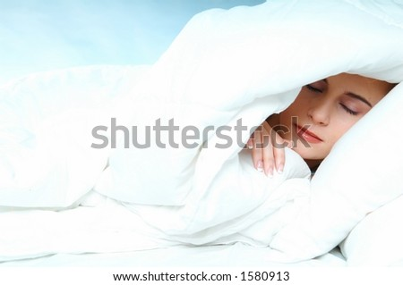 woman & bed - stock photo