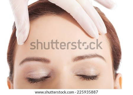 Woman before a cosmetic surgery - stock photo
