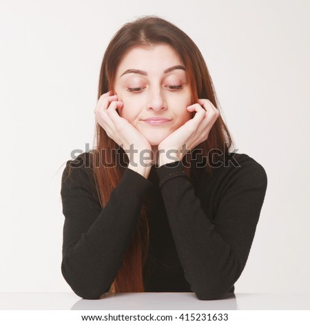 Woman being bored  (Body language, gestures, psychology) - stock photo