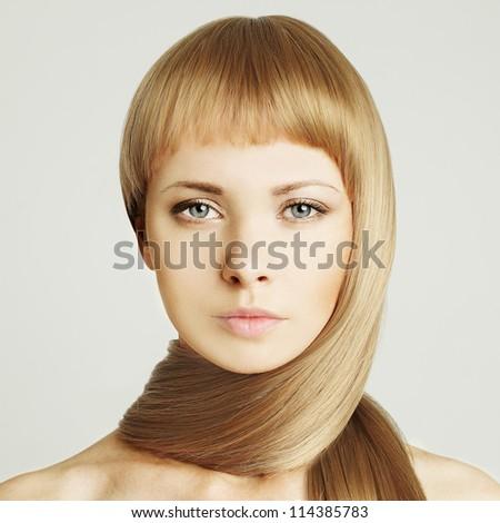 Woman, blond hair beauty salon background - stock photo
