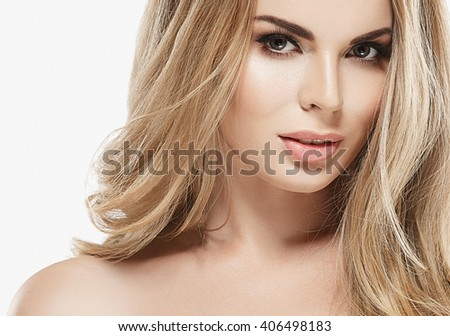 Woman blonde hair beauty portrait studio isolated on white - stock photo