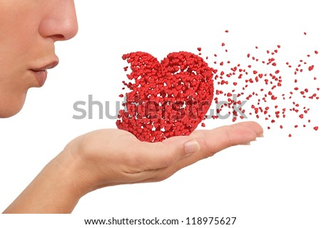 Woman blowing a heart made of little hearts spreading love like cupid isolated on a white background - stock photo